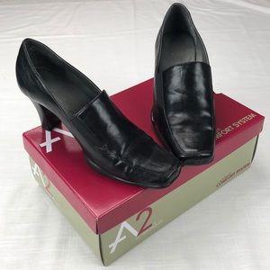 "A2 by Aerosoles 7.5 Black Loafer 3"" heel"